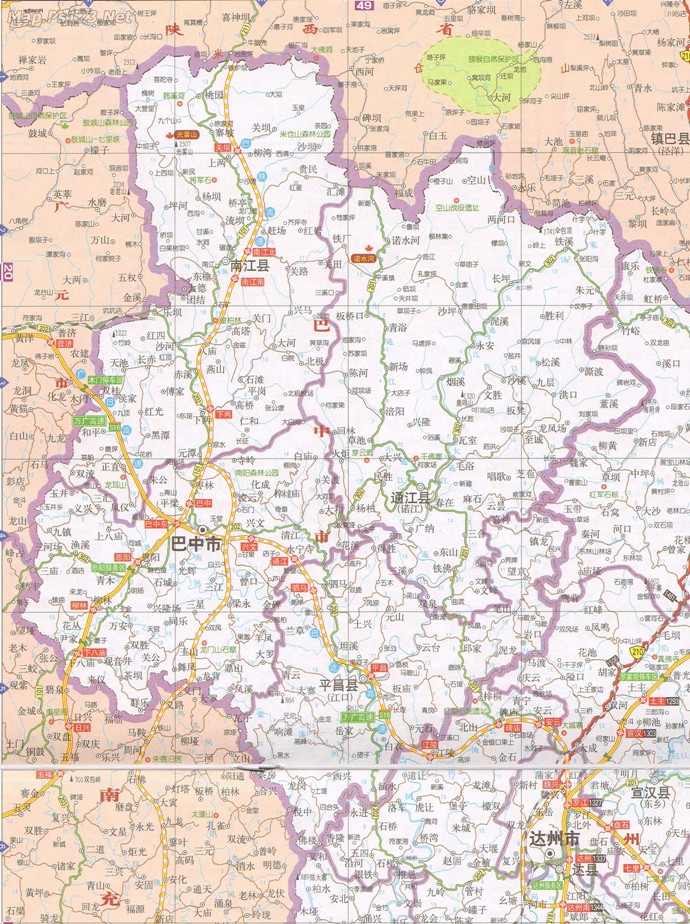 巴中市交通地图