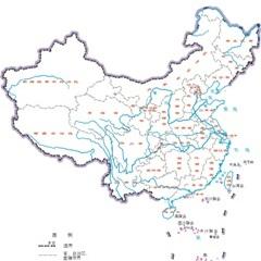 中国地图全图-1:6000万 无邻国