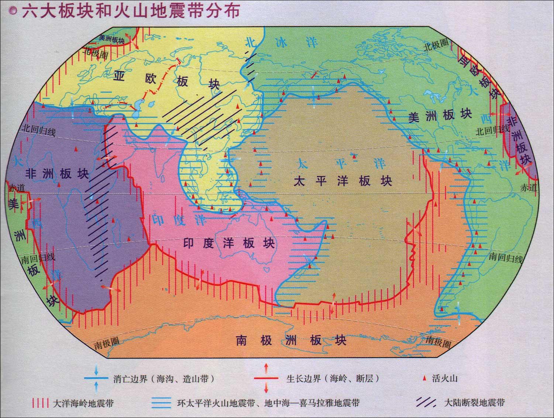 六大板块和火山地震带分布