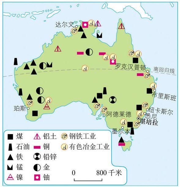 澳大利亚矿产资源分布图