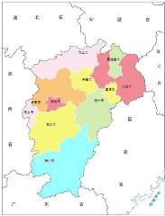 江西可缩放矢量SVG政区地图