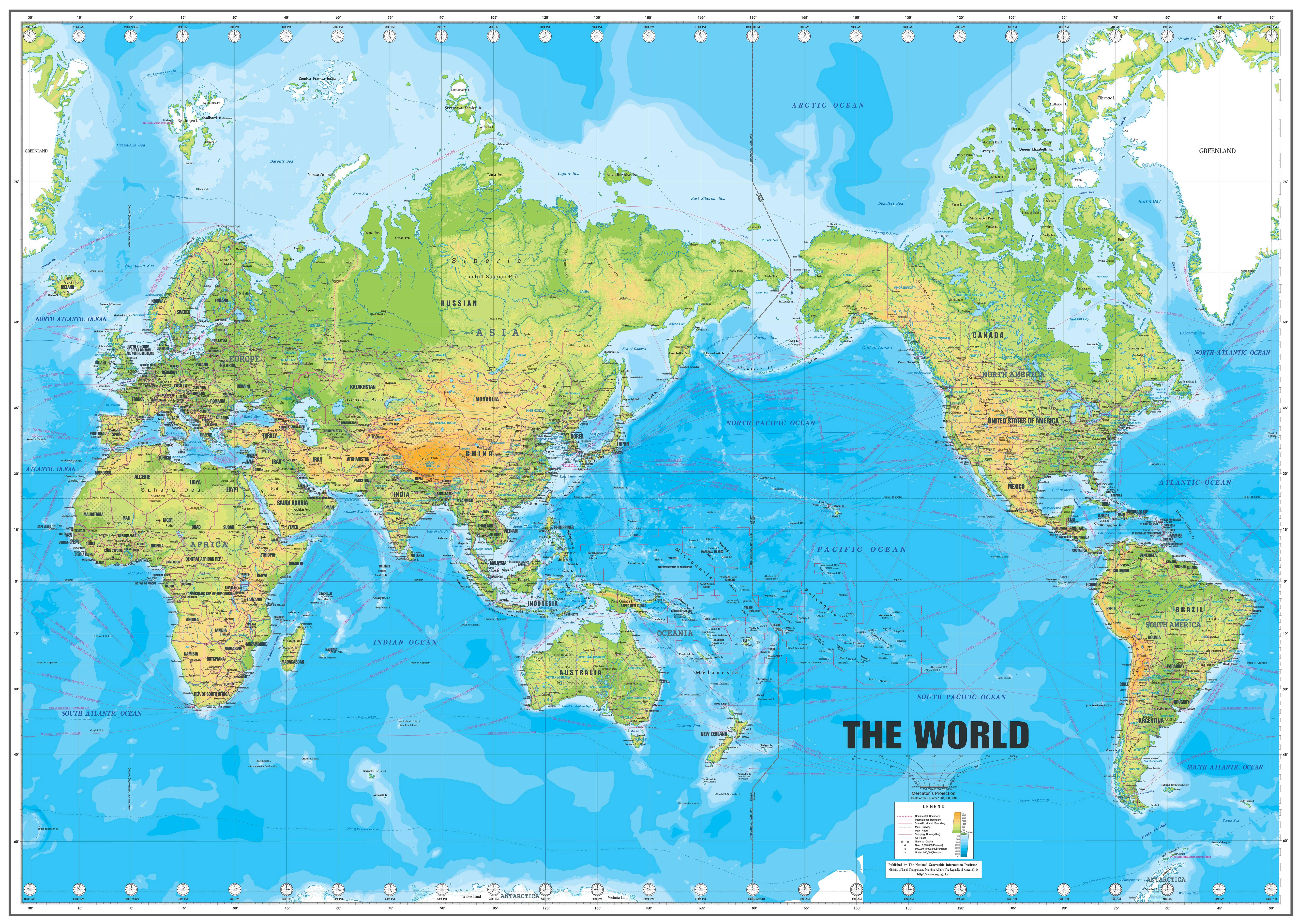 世界地形图高清版